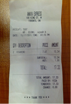 Incomplete Receipt Example